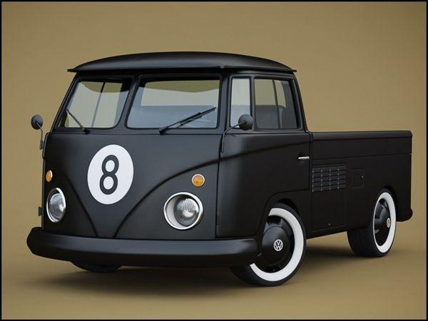 vw, bus, black, custom, truck, 8 #matte