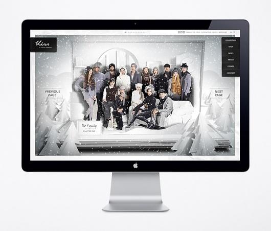 Website / Kiss by Fiona Bennett on the Behance Network #apple #snow #website #monitor #trees #winter