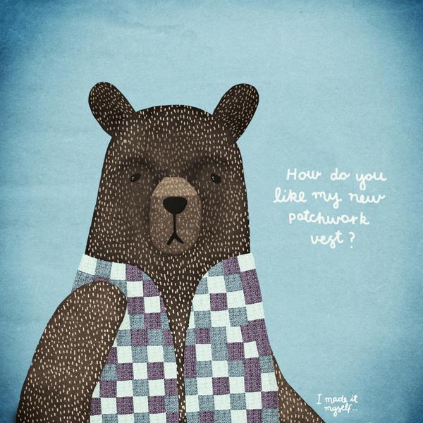Michelle Carlslund Illustration: Bear Dress-up blue #copenhagen #nordic #danish #vest #illustration #patchwork #irony #scandinavian #poster #ad #cute #blue #bear #nit #humor