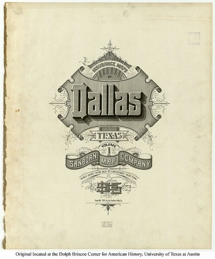 Sanborn Map Company title pages / Sanborn Insurance map - Texas - DALLAS - 1905 #typography #lettering 100% 3400 × 4094 pixels The Typography of Sanb