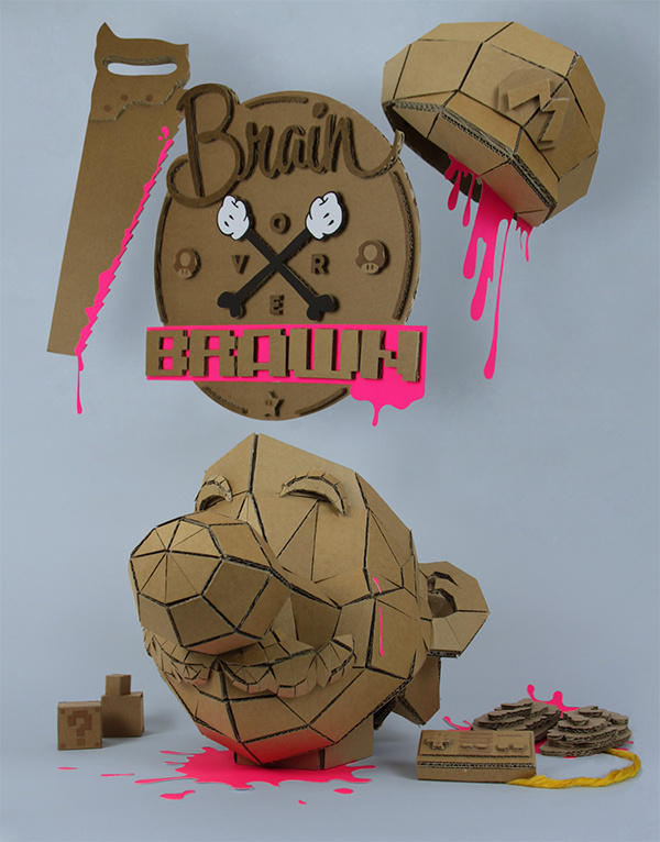 Brain over brawn by Munye&Co Studio #cardboard #illustration #studio #paper #font #mario #tipography #geometric #craft #type #face #blood #munyeco #kill #papercraft #munye&co #nintendo #brain #pixel #hat #bross