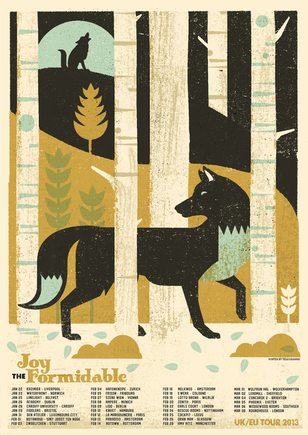 JOY FORMIDABLE TOUR POSTER Telegramme #screenprint #music poster #telegramme #joy formidable
