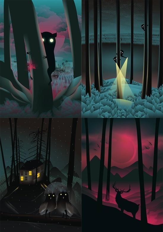 Martynas Pavilonis #fantasy #night #illustration #creatures #magic #forest
