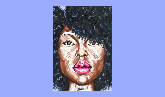 Sherida for 'Birthday Special' series by Chiamaka Ojechi #illustration #pastels #lilac #purple #afro #pinklips#markers #promarkers #minima