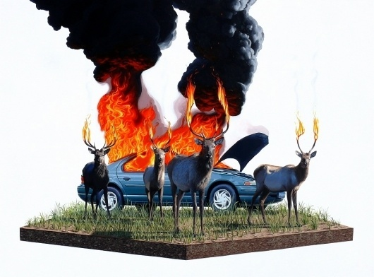 Paintings - Josh Keyes #deer #keyes #josh #paintings