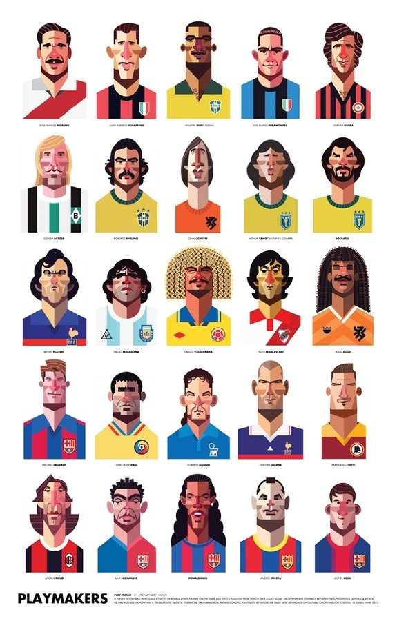 Famous Football Playmaker Illustration #heads #soccer #illustration #football #futbol