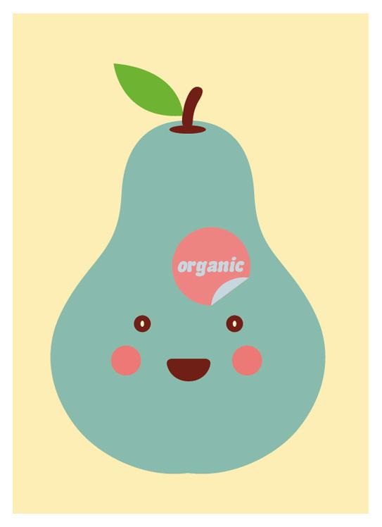 My Pear Love Organic, by GH Yeoh #inspiration #creative #pear #design #graphic #illustration #cute #organic