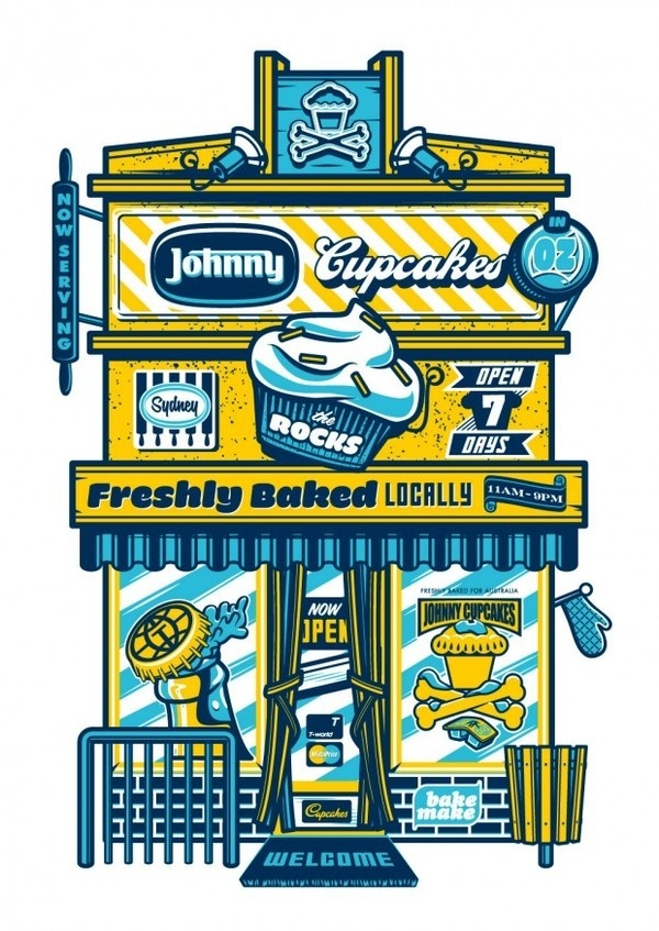 Johnny Cupcakes #cupcakes #illustration #vector #johnny