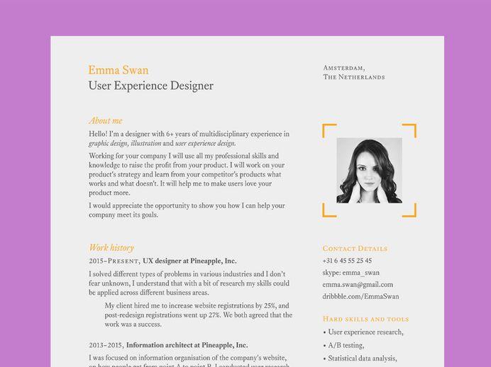 Swan Resume - Free Clean Elegant Resume Template