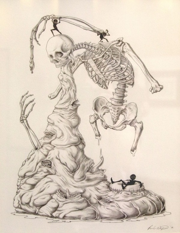 Paul Waijman –Absolute Power of the Tongue #abstract #skeleton #waijman #tongue #death #paul