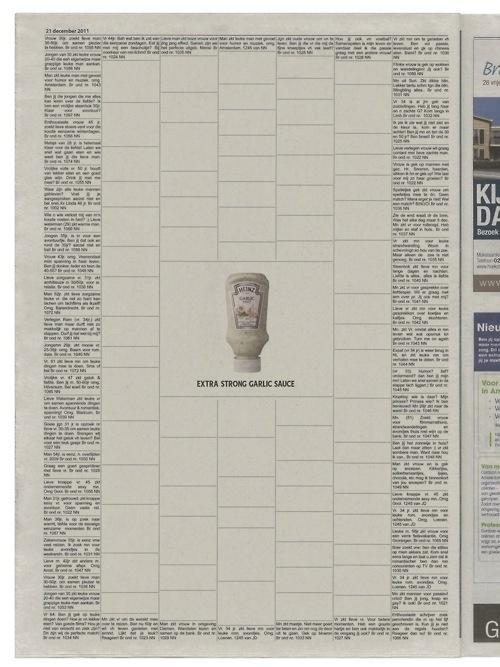 Extra strong garlic sauce print ad by N=5, Amsterdam (Jeroen van der Sluis, Lukas van de Ven, Ed van Bennekom #newspaper #ad