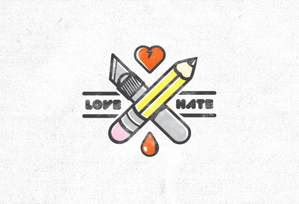 Love Hate Illustration on Behance #mark #florida #hate #illustration #orlando #type #love