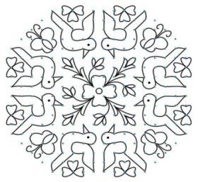 Bird And Flower Combination Design.