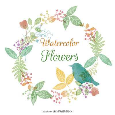 Watercolor flower and nature frame http://bit.ly/29kwsX3