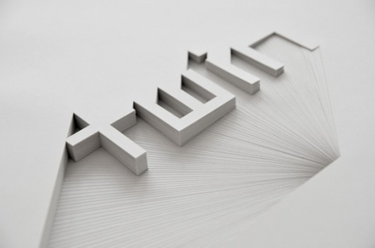 It's Nice That : Brilliantly sophisticated paper sculptures from the excellent Bianca Chang #cut #lettering #white #twin #paper #typography