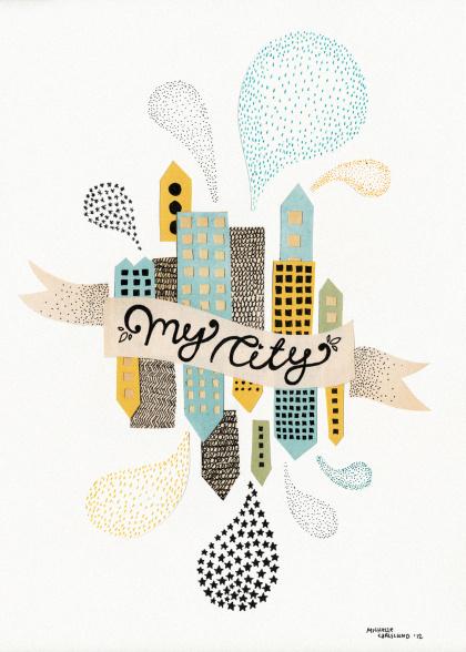 Michelle Carlslund illustration My City White #banner #white #city #yellow #illustration #poster #blue #light