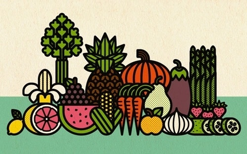 Fruits & Veggies print « BURLESQUE OF NORTH AMERICA #illustration