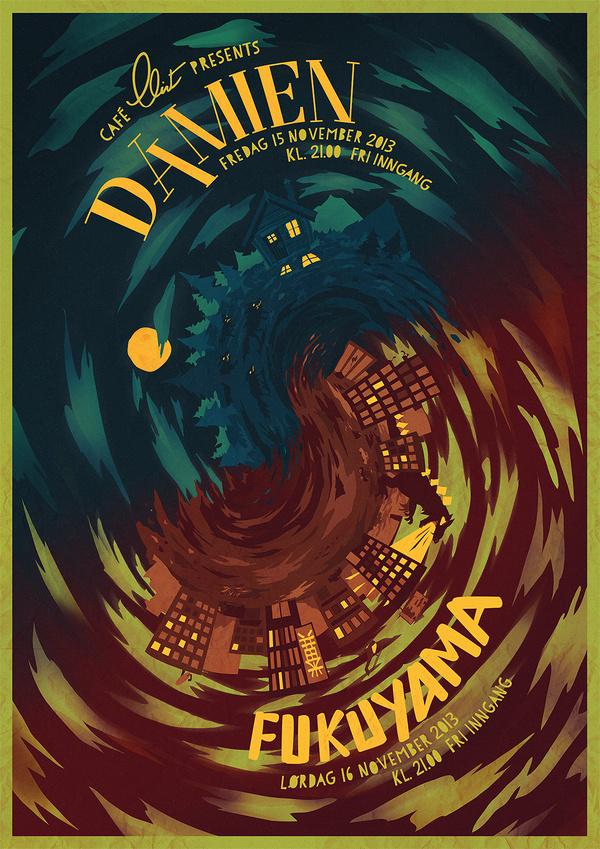 Gig poster for a Damien/Fukuyama concert at Café Clint #tornado #swirl #gig #spiral #illustration #painting #poster