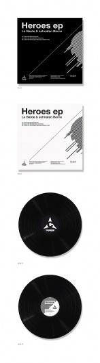 Heroes vinyl EP design on the Behance Network #lines #blackwhite #minimalistic