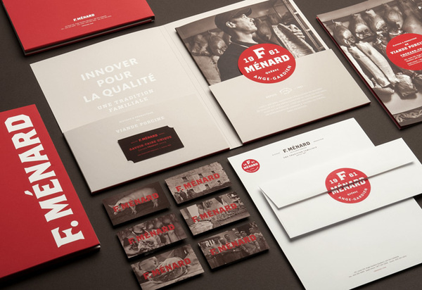 """lg2boutique   http://lg2boutique.com/en""""The new identity of F. MÉNARD, a family business involved in the pork production trade, draw #branding #stationery"""