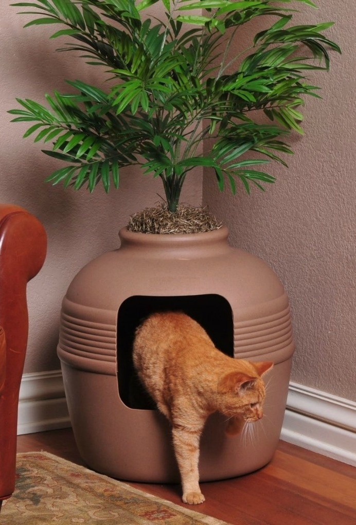 This litter-box doubles as a planter to hide your cat's business in plain sight, making it a great option for smaller spaces. #design #produ