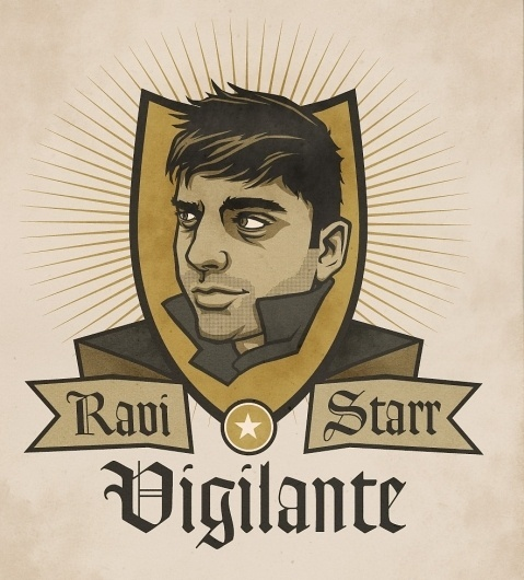 Dribbble - RaviStarr.jpg by Aaron Scamihorn #superhero #book #comic #illustration #portrait #indian #vintage #star #face