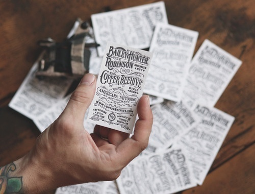 Business cards for Expert Americana Tattooing by Two Arms Inc. #design #graphic #vintage #typography