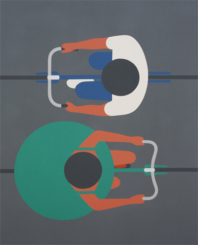 Designersgotoheaven.com Geoff McFetridge Passing, Â Acrylic on canvas, 48 #sustainable #transport #posters #bike