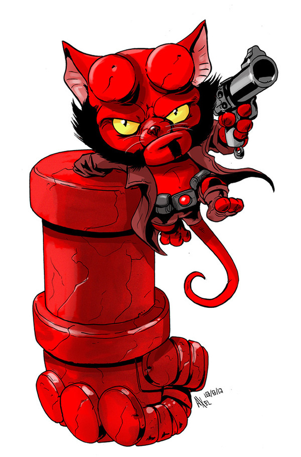 Hellboy as a cat by Axel Medellin for The Line It Is Drawn #kitten #red #hellboy #cat #comic #illustration