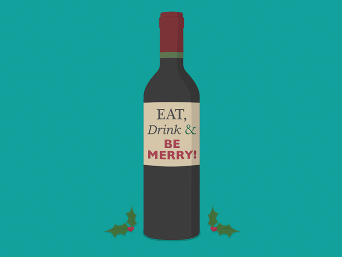 #Xmas #card #illustration by The Like Minded #wine #christmas #flat #greetings #cards