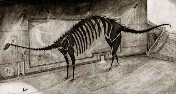 The Museum Joanne Young Illustration #museum #charcoal #fossils #dinosaurs #drawing #sketch