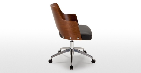 Cornell Swivel Office Chair in walnut and black | made.com #modern #chair #wood #desk #workspace