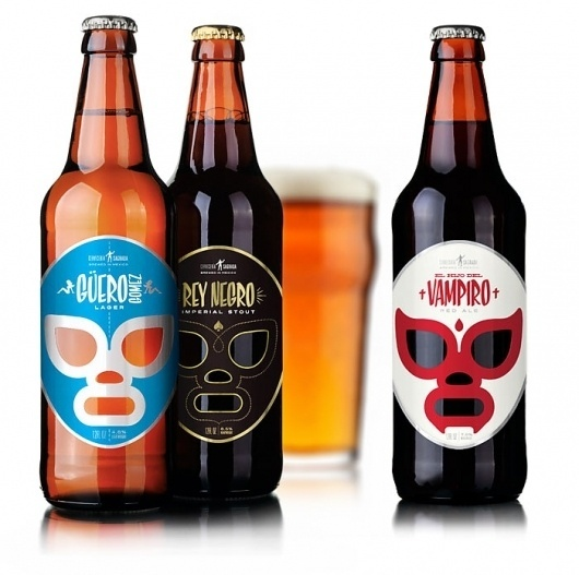 Cervecería Sagrada, Mexican Craft Beer - TheDieline.com - Package Design Blog #beer #packaging #mexican #illustration #wrestler