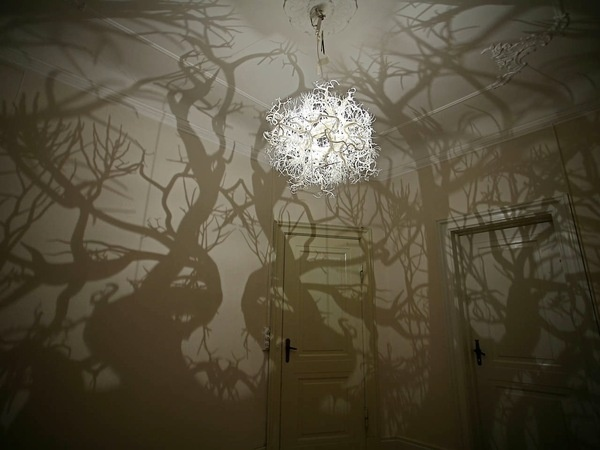 A Chandelier that Casts Tree Shadows #interior #design #art