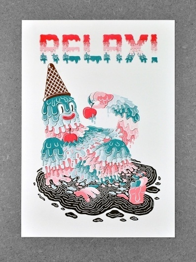 ADRIAN FLEET / RELAX! #cream #relax #adrian #illustration #melting #poster #fleet #ice