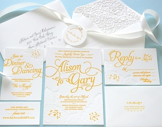 FPO: Alison and Gary Wedding Invitation #print #design #graphic #letterpress