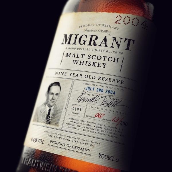 Migrant Whiskey #bottle label