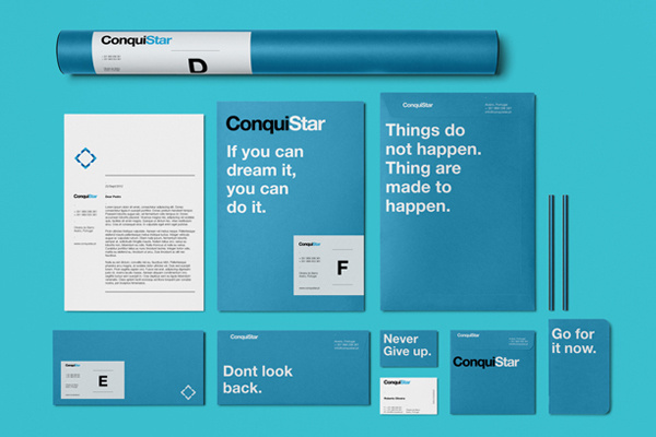 ConquiStar Visual Identity #helvetica #identity #stationery