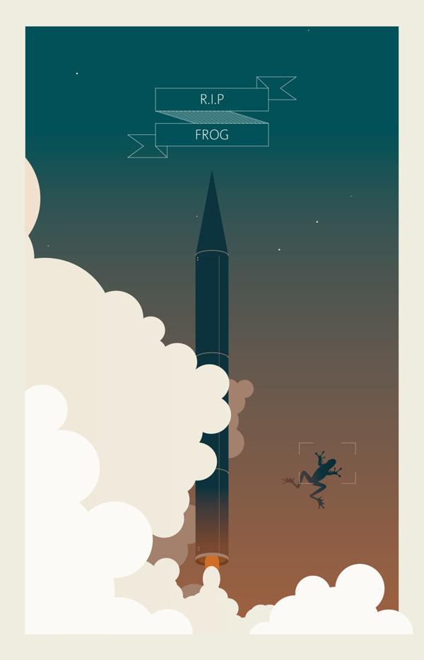 RIP FROG! on Behance #eissa #nasa #egypt #launch #space #mohamed #rocket #poster #virginia #usa #frog
