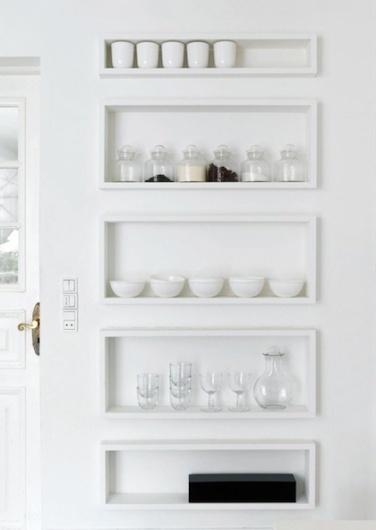 Kitchen shelves #white #door #jars #minimal #bowls #shelves