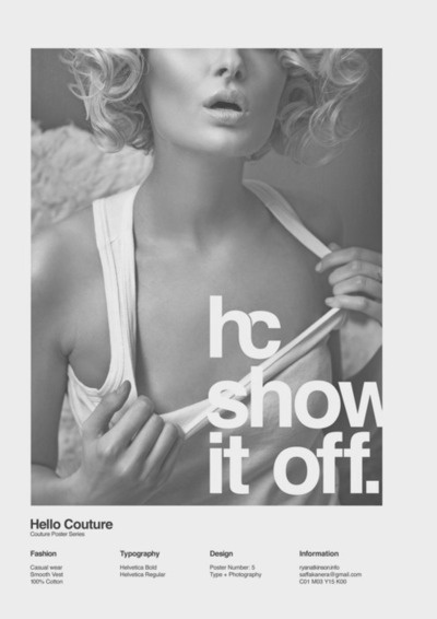 Hello Couture Poster by Ryan Atkinson #ryan #design #graphic #advertising #atkinson #poster