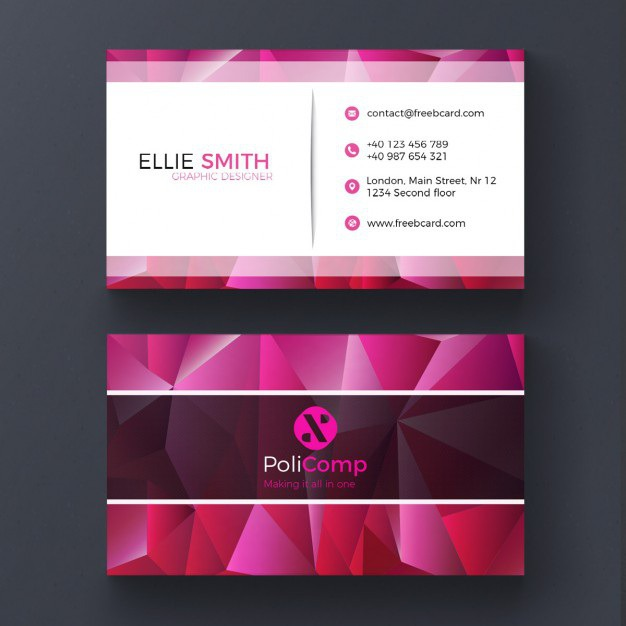 Purple polygonal business card Free Psd. See more inspiration related to Logo, Business card, Mockup, Business, Abstract, Card, Template, Geometric, Office, Visiting card, Shapes, Polygon, Presentation, Stationery, Corporate, Company, Modern, Branding, Polygonal, Visit card, Geometric shapes, Identity, Brand, Abstract shapes and Polygons on Freepik.