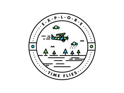 TIME FLIES #badge #line #tree #icon #type #texture #illustration #plane #logo #detail