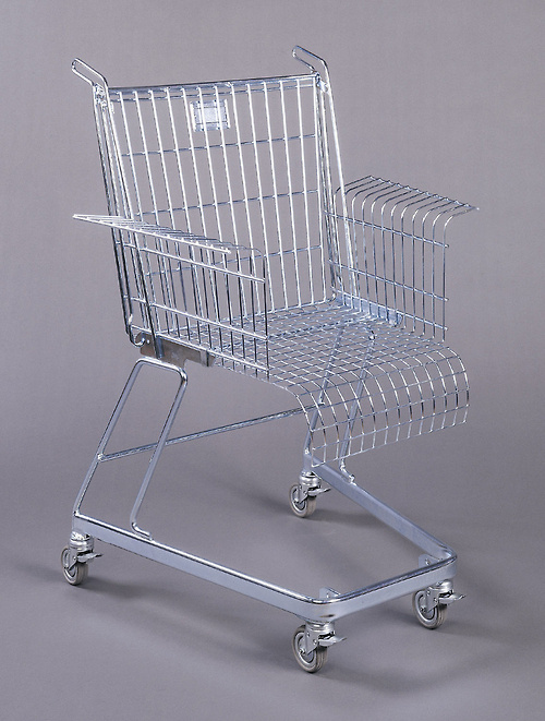 """cooperhewitt: Stiletto Studios, Chair, """"Consumer's Rest"""", ca. 1991. Metal. Museum purchase from Eleanor G. Hewitt Fund. 1992-112-1. S #shopping #lighting #photography #cart"""
