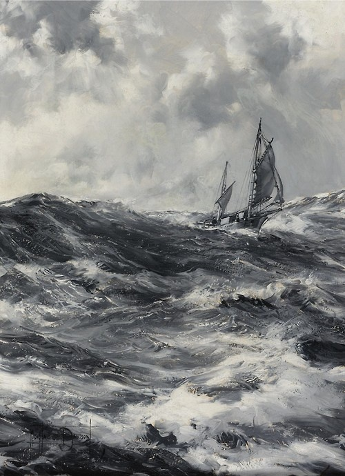 The Captain Slocum's Spray, Montague Dawson (c. 1950) #ocean #water #surf #wave #illustration #sea #boat #painting #sail