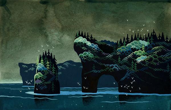 Islands on Behance #shore #illustration #sea #painting