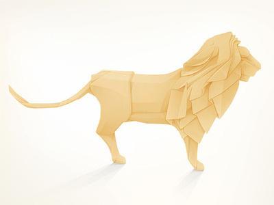 Origami Lion Vector Illustrator Animal