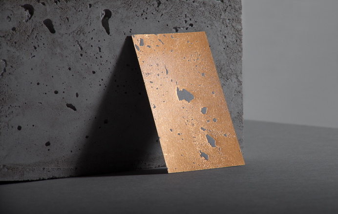 golden concrete business card architecture gold architect best modern minimal structure beton foil print printing technique beautiful design