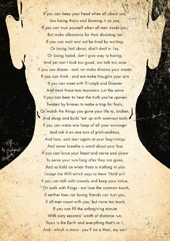 IF, Rudyard Kipling poster Futura 1 #letters #page #print #book #illustration #portrait #silhouette
