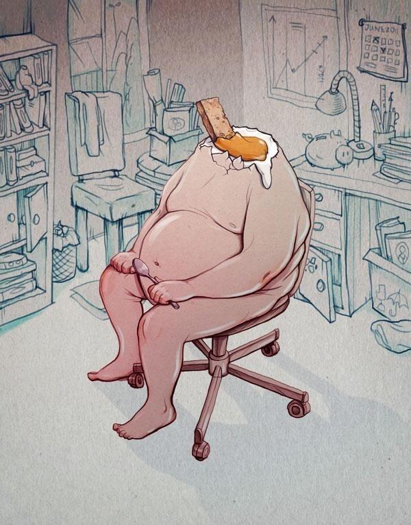 Illustration by Marija Tiurina #obese #egg #chair #yolk #illustration #toast #surreal #headless